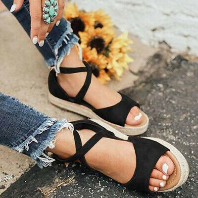 Women Summer Strap Ankle Strap Soft Sandals Casual Beach Belted Flat Shoes B