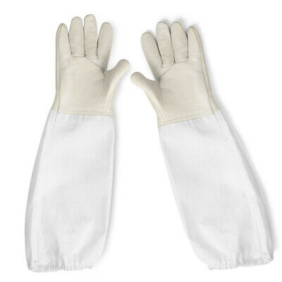 Beekeeping Bee Gloves Soft White Goats Leather with Cotton Gauntlets XL XXL XXXL