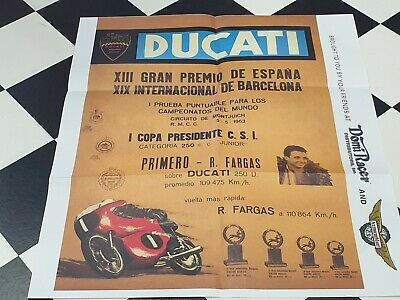 1963 DUCATI RACER FARGAS Colour  Poster by Domi Racer Parts