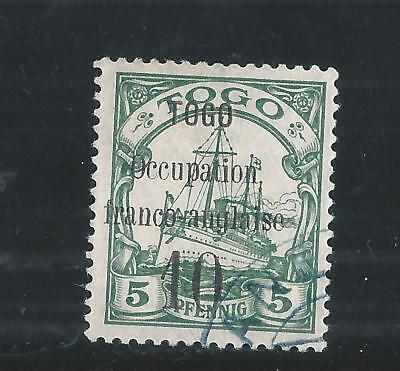 TOGO- OCCUPATION franco-anglaise  10/5 pfennig  vert  OBLITERE