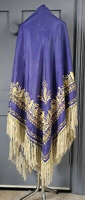 Vibrant Vintage / Antique 1920s ? Earlier ? Hand Embroidered Silk Piano Shawl