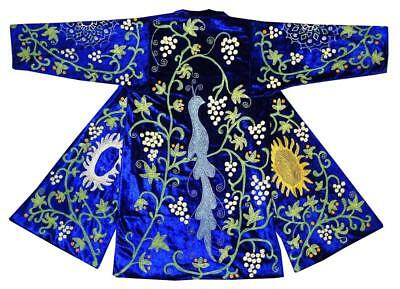 eafa7853338 Uzbek Traditional Bukhara Robe Jacket Coat Unisex Silk Embroidery Suzani  A10318