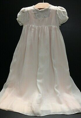 Antique Baby Christening Dress And Silk Pink Slip