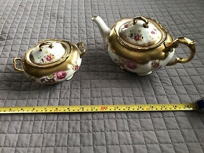 Vintage EB Foley Bone China, Gold and Floral Teapot and Sugar. England,