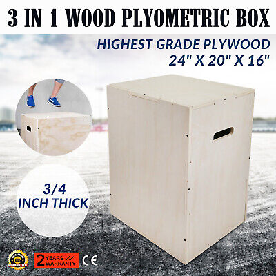 "Fitness 3 in 1 Wood Plyometric Box 24""16""20""for Jump Training Strength Step-ups"
