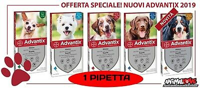 Advantix Bayer 1 pipetta antiparassitario cane da 0-4/ 4-10/ 10-25/ 25+/ 40-60kg