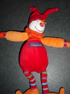 Doudou Peluche Clown Lutin Rouge Dragobert Grelot Moulin Roty TBE