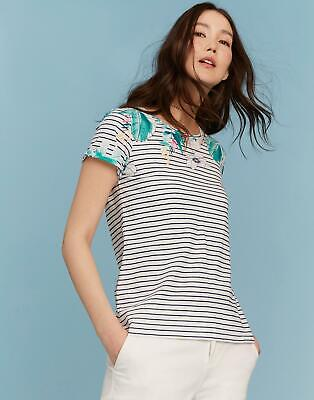 Joules Womens Nessa Print Jersey T shirt in PALM STRIPE
