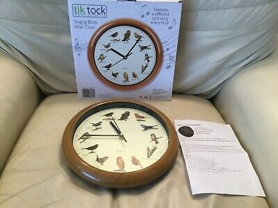 A  Vintage Chiming Wall Clock Working With New Batterys Bird Theme Singing