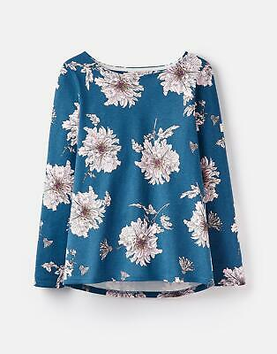 Joules Womens 124821 Printed Jersey Top Shirt 8 in DARK TOPAZ PEONY Size 8