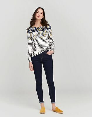 Joules Womens Harbour Printed Jersey Top Shirt in NAVY GOLD DITSY
