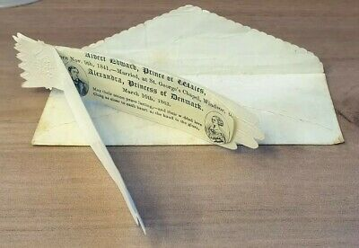 1863 Royal Wedding Gloves Edward VII Prince of Wales and Alexandra with envelope