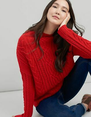 Joules Womens Cara Cable Jumper in RED