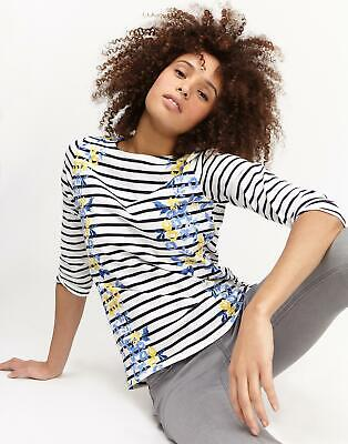Joules Womens Harbour Print Jersey Top Shirt in Navy Rose Stripe