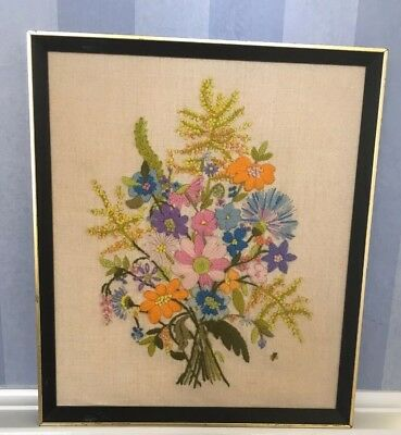 Vintage Needlepoint Embroidery Framed Wall Art, Colorful Flowers