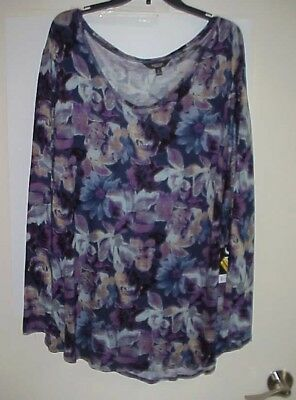 563824b3992fc2 Womens Simply Vera by Vera Wang Floral Top Long Sleeve Size 3X NWT New