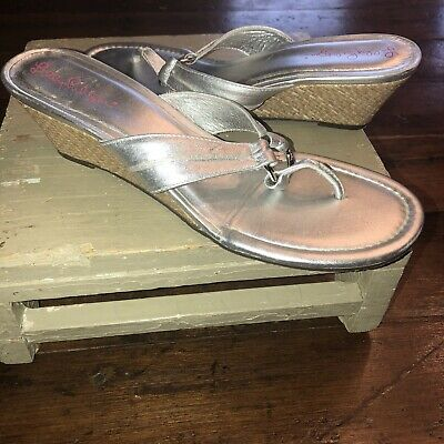 26304315eb34ef Lilly Pulitzer McKim Sandals Silver Leather Wedge Flip Flops O-Ring Women  9.5 M