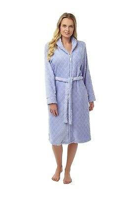 Ladies Cosy Lilac Zip Up Fleece Dressing Gown  Housecoat Robe Sizes 10-26 abee0f15f8