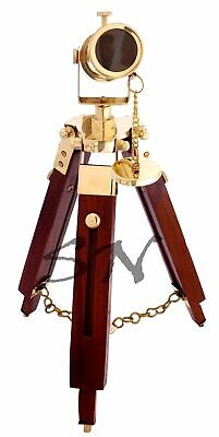 Maritime Nautical Polished Brass Telescope With Wooden Tripod Stand Desk Deco
