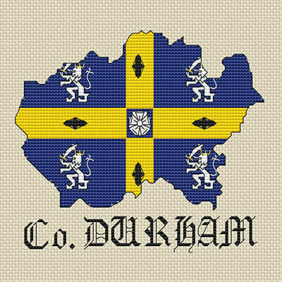 County Durham Map & Flag Cross Stitch Design (kit or chart)