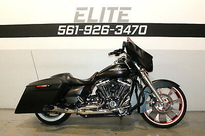 """2014 Harley-Davidson Street Glide FLHX  Harley Street Glide Flame Thrower exhaust 21"""" Wheel Stretched Bags 561-926-3470"""