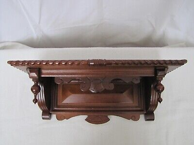 Antique Wooded Wall Mount Clock Shelf for Antique Kitchen Clock. Display Shelf