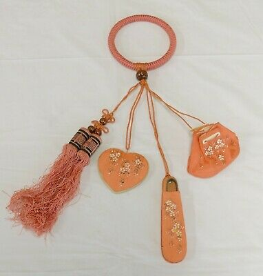 ART DECO Oriental Silk SEWING CHATELAINE Bracelet Pin Cushion Scissors Tassels