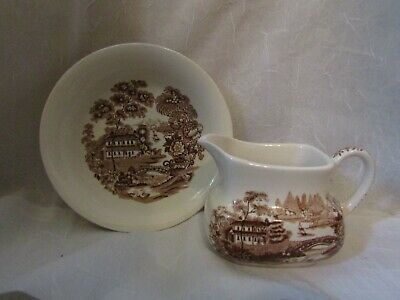 Alfred Meakin Tonquin Pattern Brown Small Creamer/Pitcher & Bowl-RARE