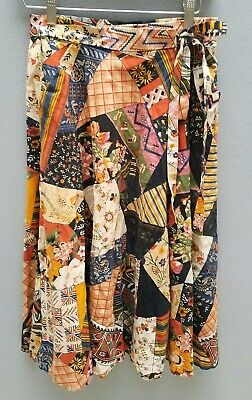 VINTAGE 70s High-waisted Wrap Skirt Sz 8/XS COTTON Patchwork Print Flared Retro