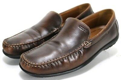 67779cabf954 ECCO MENS DARK brown leather driving loafers moc toe EU43 US9-9.5 ...