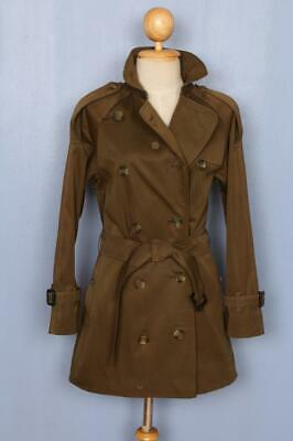 Womens BURBERRY Double Breasted Short TRENCH Coat Mac Brown 6/8 S/XS