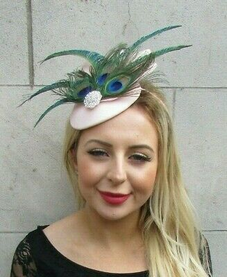 Blush Light Pink Silver Green Peacock Feather Fascinator Races Ascot Hat 7066