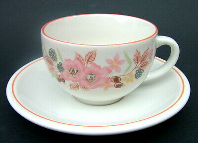 TWO  Boots Nice Hedge Rose Pattern Stoneware 200ml Tea Cups & Saucers - in VGC