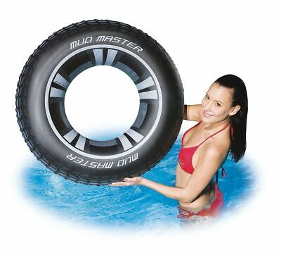 """36"""" Large Inflatable Tyre Swim Ring Adults Older Children Pool Float Lounger"""