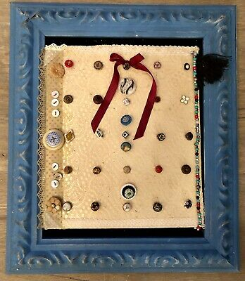 Antique/ Vintage Buttons Mounted On A Card With Beautiful Antique Lace 11 X 13