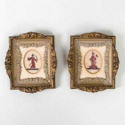 "Set of 2 Antique Japanese Embroidery Lady & Samurai Framed Gold Gilt 8"" x 7"""