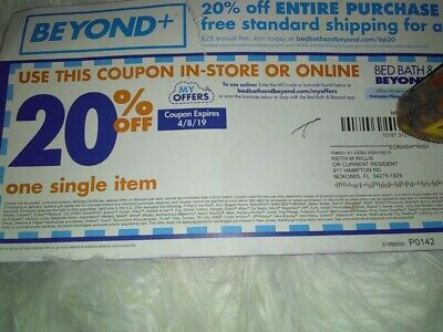 Bed Bath & Beyond  20% Off Single Item Coupons