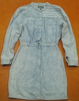 Womens Vintage 80s 90s Western LS Light Blue Denim Nehru Collar Shirt Dress Med