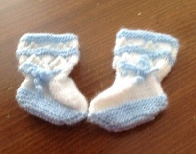 Baby Bootees Hand Knitted Blue and White Newborn
