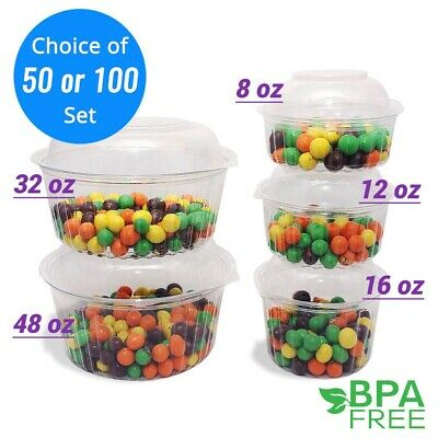 8oz-48oz Round Deli Food/Soup Containers w/ Lids BPA free For Holiday Parties