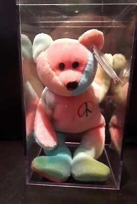 ty peace beanie babies 1996 peace bear with tags and clear case see details
