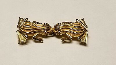 Gorgeous Vintage Mimi Kissing Gold Tone Froggies Belt Buckle Great Condition