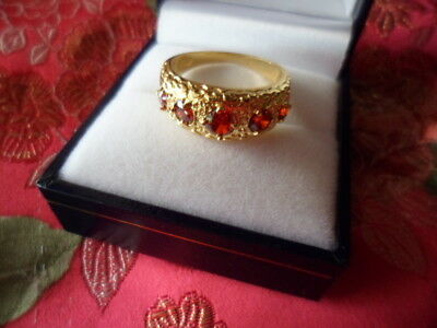 Victorian Vintage Jewellery Gold Band Ring with Rubies Antique Dress Jewelry