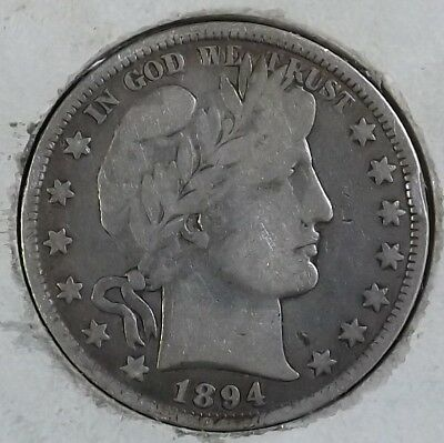 1894-P 50C Barber Half Dollar Early Better Date VG X Best Offer Bargain UT-2
