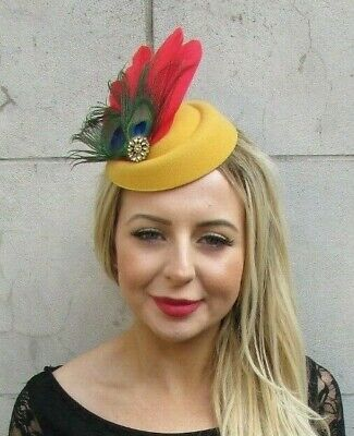 Red Green Mustard Gold Yellow Peacock Feather Hat Hair Clip Fascinator 7076