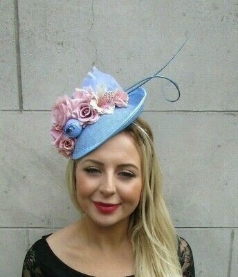 Light Blue Blush Light Pink Feather Floral Disc Saucer Hat Fascinator Hair 7077