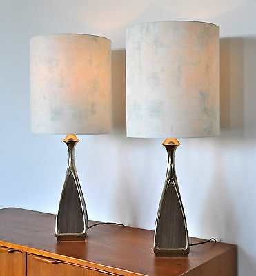 Mid Century Eames Mad Men Danish Laurel 'LAVSTAH' Table Lamp new shades PAIR
