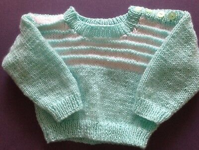 New hand knitted Child's Jumper. Mint Green/White. Size 0. Save post on 2 items