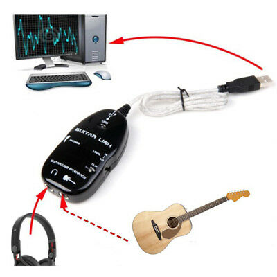 Guitar to USB Interface Link Cable Adapter MAC/PC Recording CD Studio B4I7 ZP