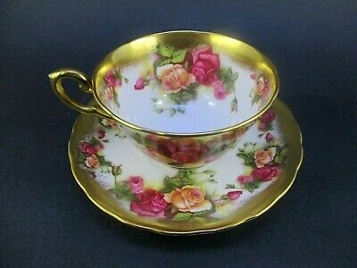 Royal Chelsea Golden Rose Tea Cup & Saucer, footed Bone China in pattern 7927A